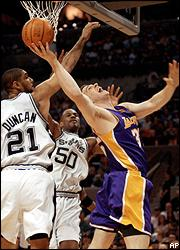 Tim Duncan, David Robinson and Mark Madsen