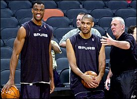 David Robinson, Tim Duncan and Gregg Popovich