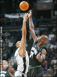 Tim Duncan and Kevin Garnett