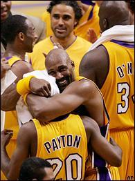 Kobe Bryant, Gary Payton, Karl Malone and Rick Fox