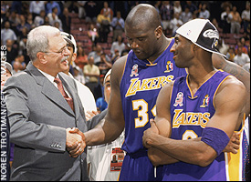 Phil Jackson, Shaquille O'Neal and Kobe Bryant