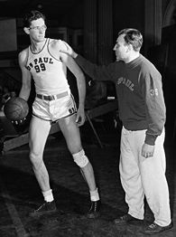 Ray Meyer, right, and  George Mikan.