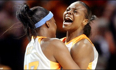 Tasha Butts (right) and Shyra Ely celebrate another trip to the Final Four.
