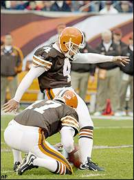 Phil Dawson had four field goals for Cleveland, the longest for 33