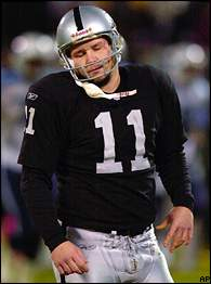 Raiders kicker Sebastian Janikowski reacts after missing a field goal