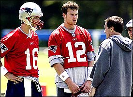 Kiff Kingsbury (16), Tom Brady (12) and Bill Belichick