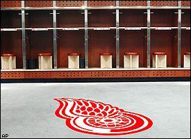Detroit Red Wings locker room