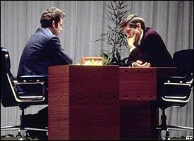 Bobby Fischer, right, and Boris Spassky