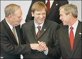 Jean Chretien, Guy Verhofstadt, George Bush