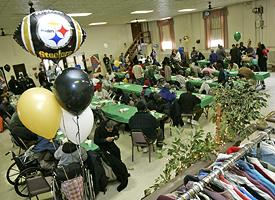 Super Bowl party for the homeless