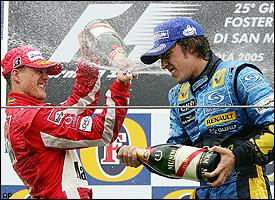 Fernando Alonso, right, and Michael Schumacher