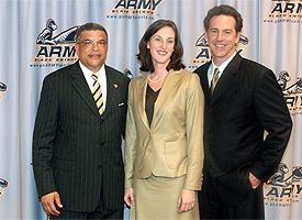 Maggie Dixon and Jamie Dixon with Army AD