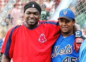 David Ortiz, left, and Pedro Martinez