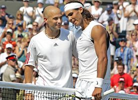 Andre Agassi, left, and Rafael Nadal.