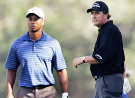 Phil Mickelson, right, and Tiger Woods