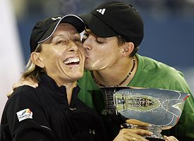 Martina Navratilova, left, and Bob Bryan