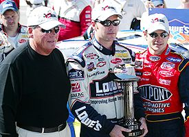 Jimmie Johnson, Rick Hendrick and Jeff Gordon
