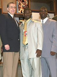(L-R) Paul Tagliabue, LaDainian Tomlinson and Michael Vick