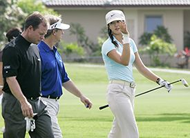 Michelle Wie, right, Joe Durant, left, and David Toms.