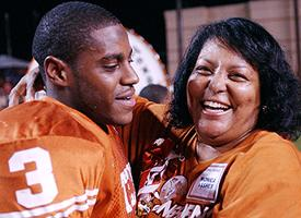 The last time Monica Vasher saw Nathan play in person was his Senior Day at Texas in 2003. It took her a week to recover from the trip.