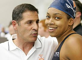 Swimmer Brielle White and coach Mark Berardino