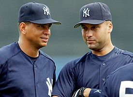 Alex Rodriguez, left, and Derek Jeter