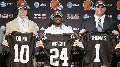 Brady Quinn, Eric Wright and Joe Thomas