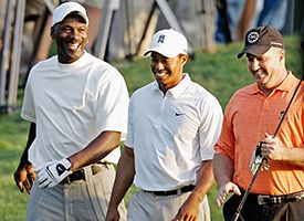 Tiger Woods, center, Michael Jordan, left, and Skipper Beck, right.