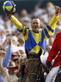 Calvin Borel celebrates aboard Street Sense after winning the xxxth running of the Derby.