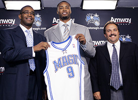 Otis Smith, Rashard Lewis and Stan Van Gundy