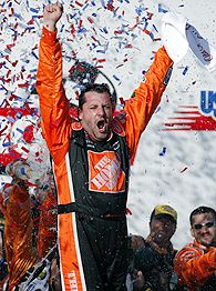 Tony Stewart celebrates the end of a 20-race winless streak.