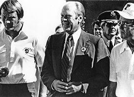 Barry Switzer, Darrell Royal and Gerald Ford