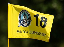 Southern Hills' 18th green pin flag