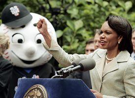 Mr. Met and Condoleezza Rice