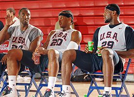 (L-R) Kobe Bryant, Carmelo Anthony and LeBron James