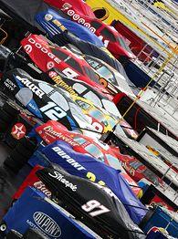 Parked NASCAR cars