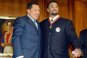 Hugo Chavez and Johan Santana