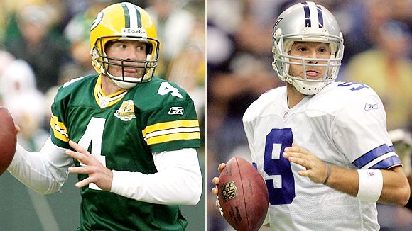 Green Bay quarterback Brett Favre, left, says Dalals QB Tony Romo reminds him a lot of himself.