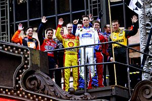 Nascar drivers on top of the Hard Rock Cafe