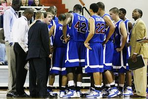 Presbyterian Basketball team huddle