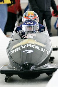 NASCAR driver Geoff Bodine, front, had a simple goal for his bobsledding endeavor; put American bobsledders in competitive American-made sleds.