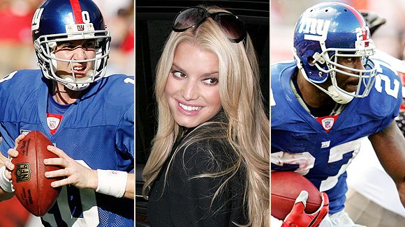 Eli Manning, Jessica Simpson and Brandon Jacobs