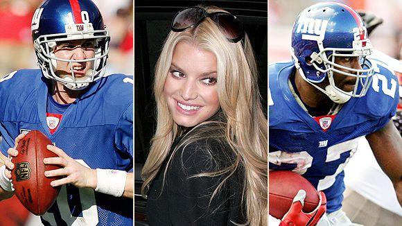 Eli Manning, Jessica Simpson and Brandon Jacobs