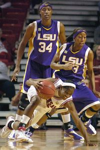 LSU's Allison Hightower, right, and Sylvia Fowles