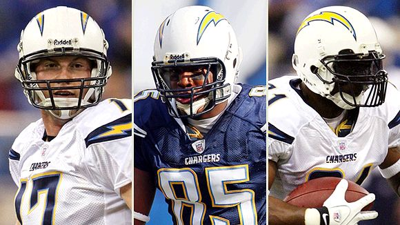 LaDainan Tomlinson, Antonio Gates and Phillip Rivers