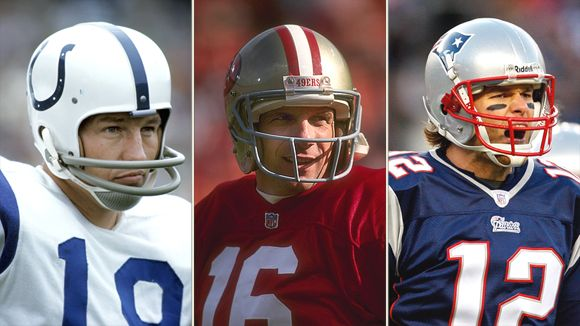 Who is the greatest NFL quarterback? From left, Johnny Unitas,  Joe Montana and Tom Brady rated highest in an ESPN.com poll of seasoned NFL talent evaluators.