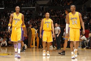 Lamar Odom, Derek Fisher and Kobe Bryant