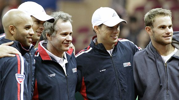 James Blake, Bob Bryan, captain Patrick McEnroe, Mike Bryan and Andy Roddick