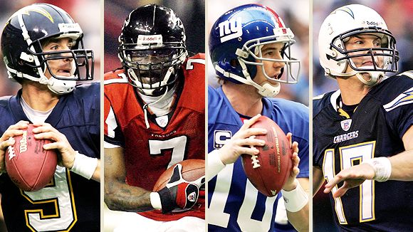 Drew Brees, Michael Vick, Eli Manning, and Philip Rivers