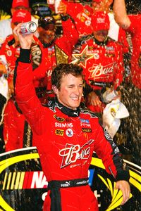 Kasey Kahne is the first driver ever voted in by the fans to win the All-Star race.